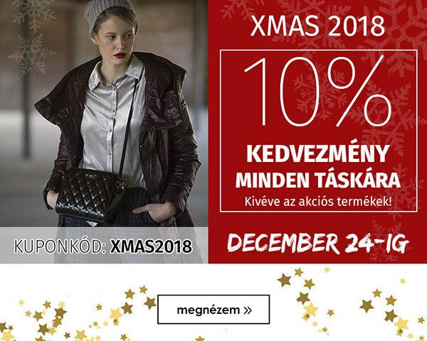 10% kedcezmény minden táskára! Kuponkód: XMAS2018, Érvényes: December 24-ig.