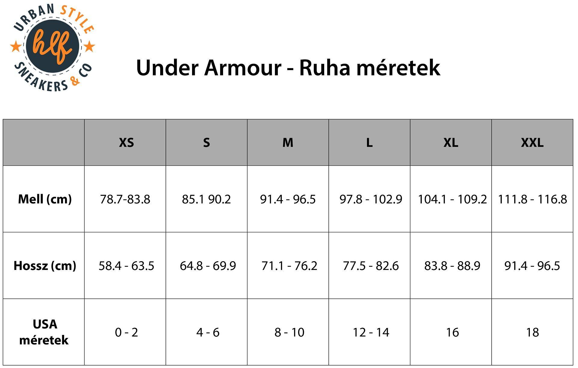 Under Armour - Ruha méretek