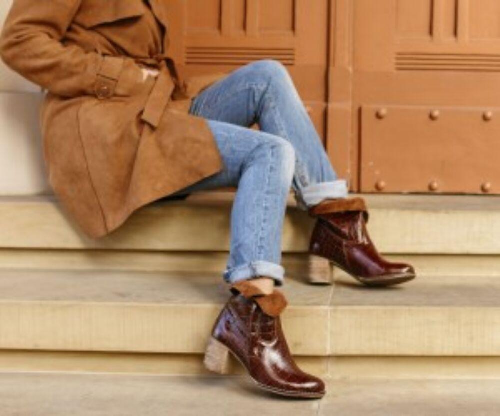 Zapato valódi bőr barna krokodil mintás női bokacsizma