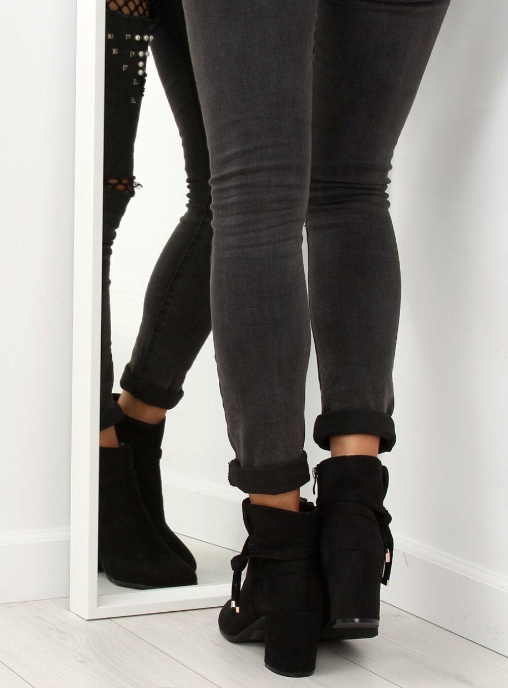 Női műbőr bokacsizma sarokkal (YL56), fekete