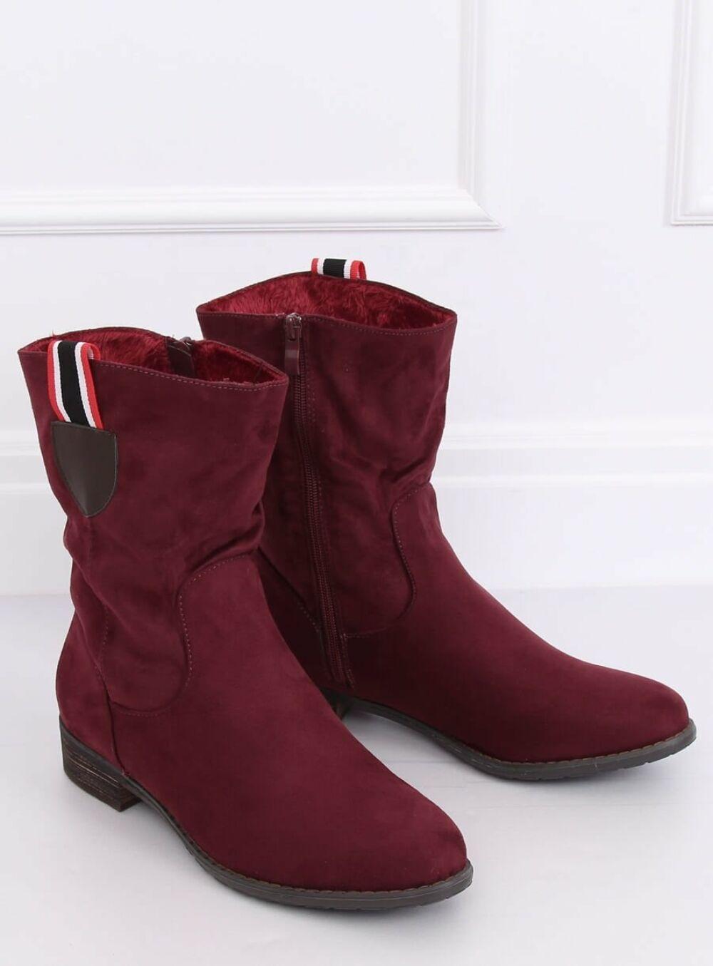 Női bokacsizma (99-110), piros