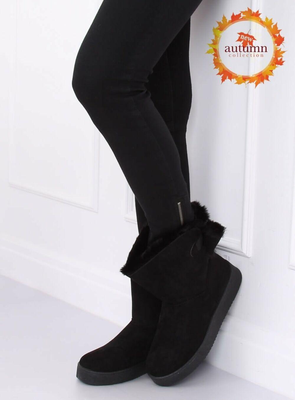 Női műbőr bokacsizma (LV70P), fekete
