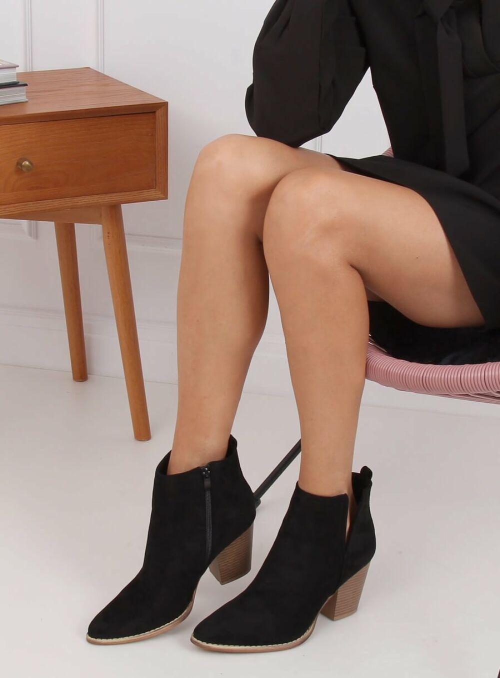 Női műbőr bokacsizma (M397), fekete