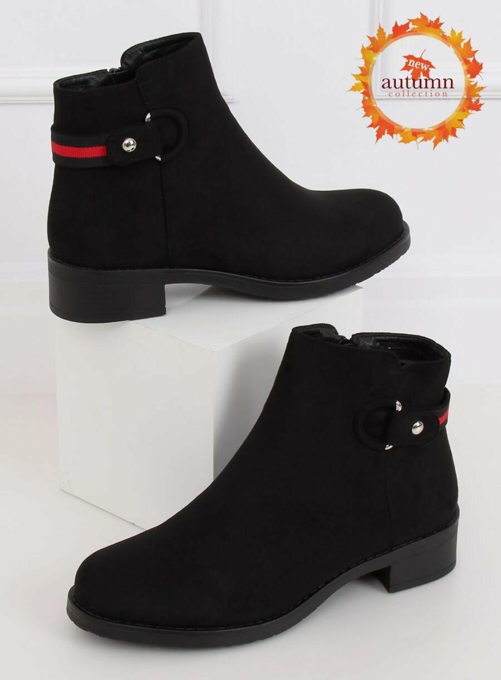 Női műbőr bokacsizma (Q8AX1570-07), fekete