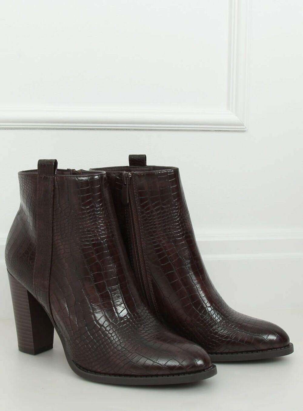Női műbőr bokacsizma (UK10), barna