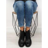 Női műbőr bokacsizma sarokkal (NC700), fekete