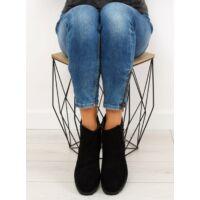 Női műbőr bokacsizma sarokkal (HY-19), fekete