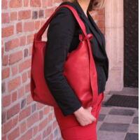 Wukador női váll-hátitáska bőrből piros