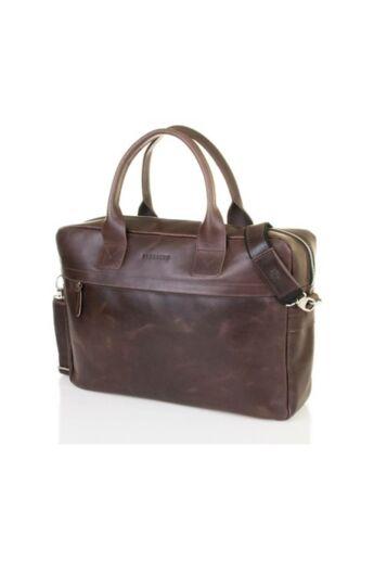 Brodrene elegáns férfi laptop táska bőrből sötétbarna
