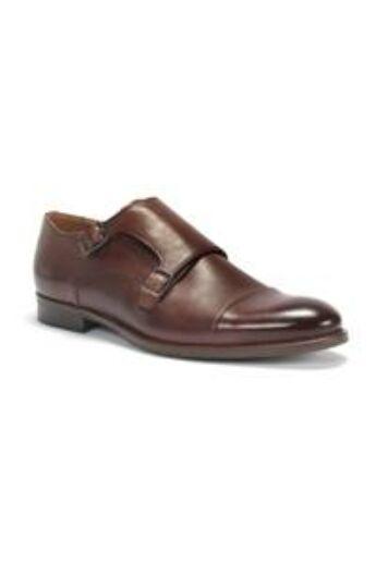 DOMENO valódi bőr alkalmi férfi cipő, barna, DOM1017