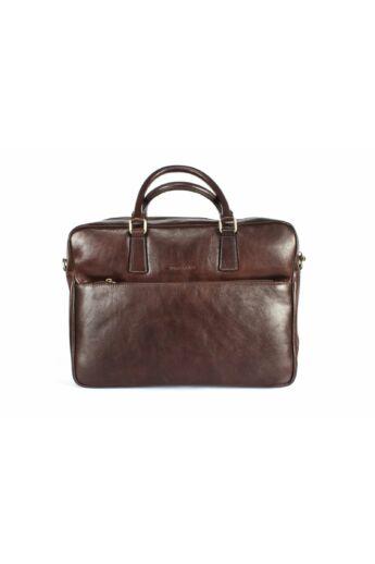 DOMENO keményített valódi bőr laptoptáska, barna, DOM1391