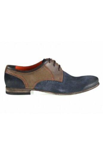 DOMENO hasított bőr elegáns férfi félcipő, kék, DOM740
