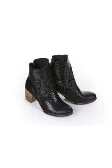 Zapato valódi bőr fekete krokodil mintás női bokacsizma
