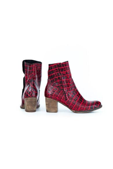 Zapato valódi bőr fekete és piros krokodil mintás női bokacsizma