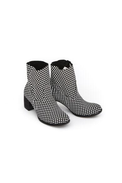Zapato valódi bőr fekete kockás női bokacsizma