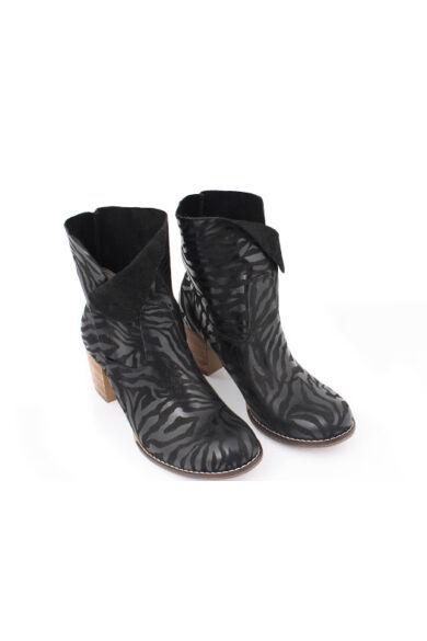 Zapato valódi bőr fekete zebra mintás női bokacsizma