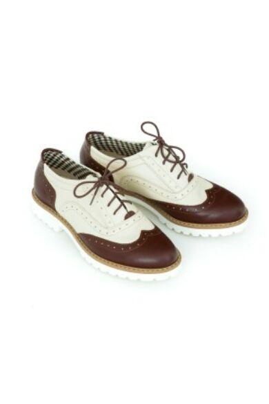 Zapato valódi bőr barna és bézs női félcipő