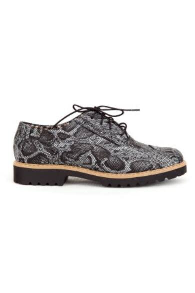 Zapato valódi bőr fekete kígyó mintás női félcipő