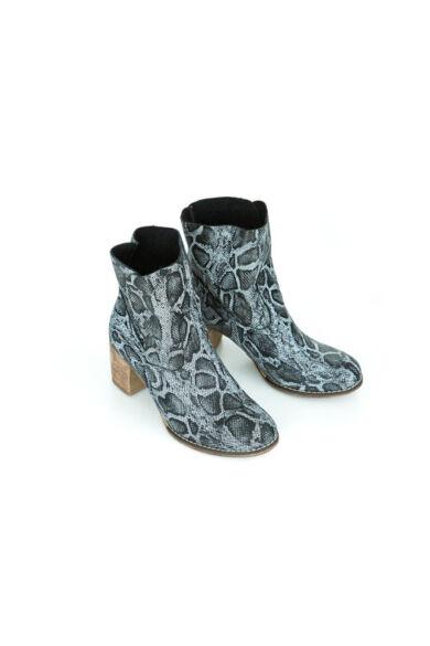 Zapato valódi bőr fekete kígyó mintás női bokacsizma