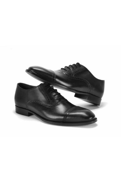 DOMENO valódi bőr alkalmi férfi cipő, fekete, DOM1021
