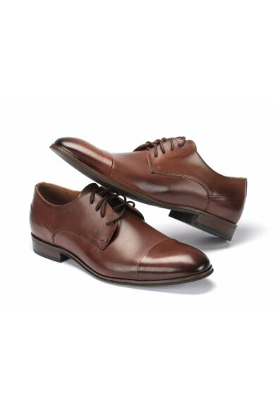 DOMENO valódi bőr alkalmi férfi cipő, barna, DOM1035