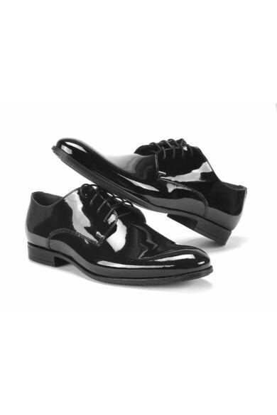 DOMENO lakozott bőr alkalmi férfi cipő, fekete, DOM1038