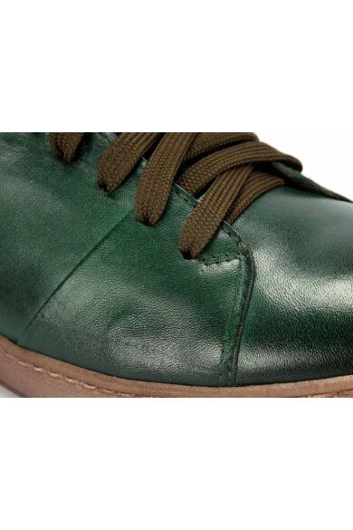 DOMENO valódi bőr elegáns férfi félcipő, zöld, DOM1040
