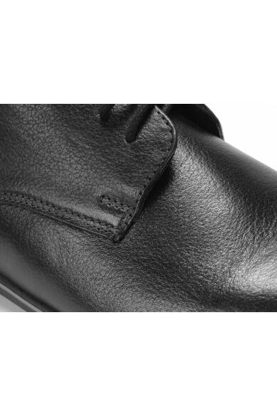 DOMENO valódi bőr elegáns férfi félcipő, fekete, DOM1050