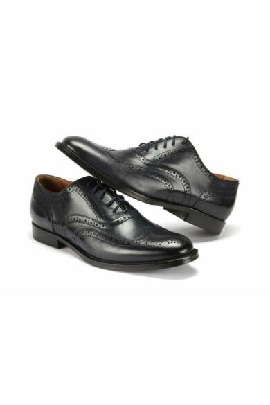 DOMENO valódi bőr alkalmi férfi cipő, kék, DOM117