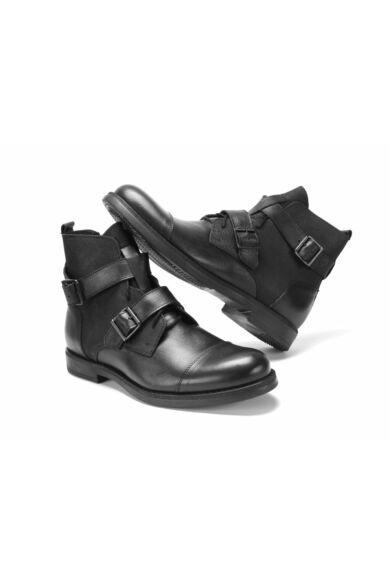 DOMENO valódi bőr elegáns magas szárú férfi cipő, fekete, DOM1173