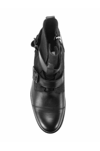DOMENO valódi bőr elegáns magas szárú férfi cipő, fekete, DOM1196