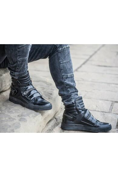 DOMENO valódi bőr sneakers, fekete, DOM120