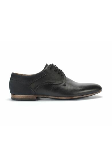 DOMENO valódi bőr elegáns férfi félcipő, fekete, DOM1208