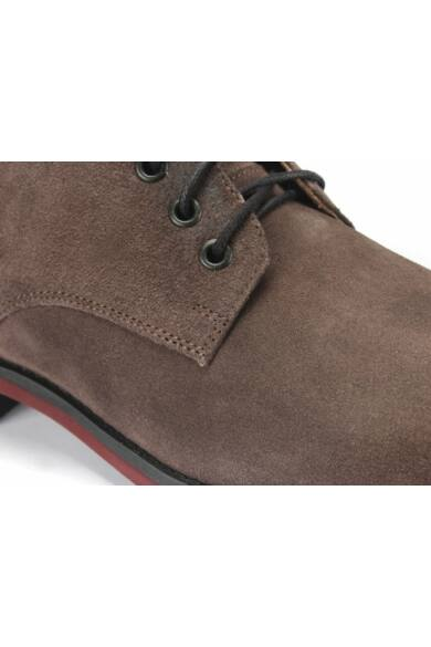 DOMENO hasított bőr elegáns magas szárú férfi cipő, szürke, DOM1215