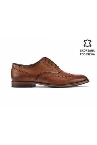 DOMENO valódi bőr alkalmi férfi cipő, barna, DOM1262