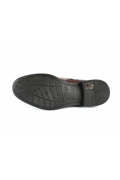 DOMENO valódi bőr elegáns magas szárú férfi cipő, barna, DOM1281