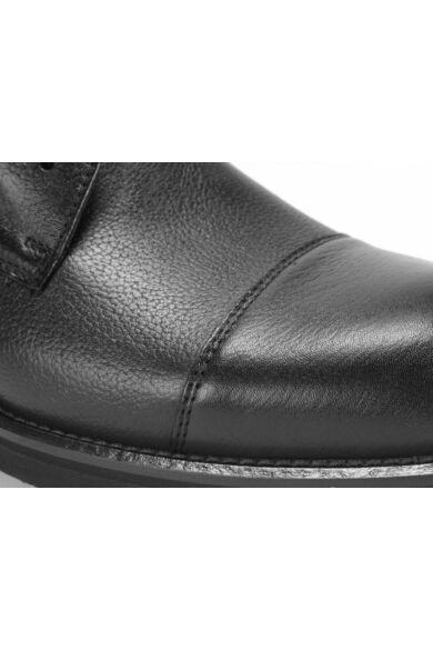 DOMENO valódi bőr elegáns magas szárú férfi cipő, fekete, DOM1284