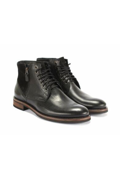 DOMENO valódi bőr elegáns magas szárú férfi cipő, fekete, DOM1285