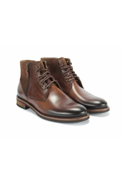 DOMENO valódi bőr elegáns magas szárú férfi cipő, barna, DOM1286