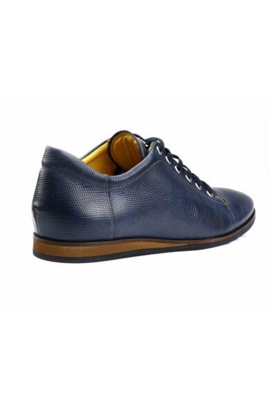 DOMENO valódi bőr elegáns férfi félcipő, kék, DOM1334