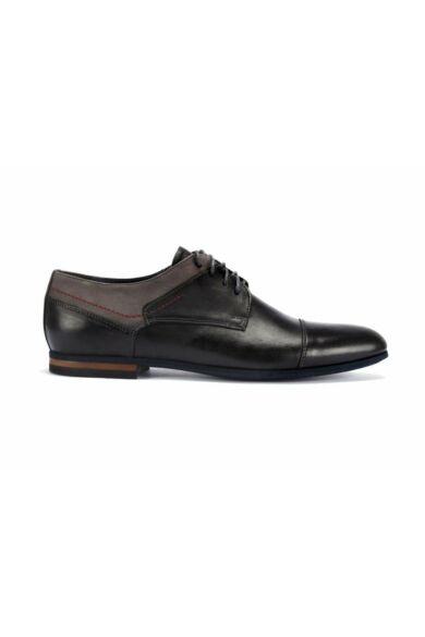 DOMENO valódi bőr elegáns férfi félcipő, fekete, DOM1364