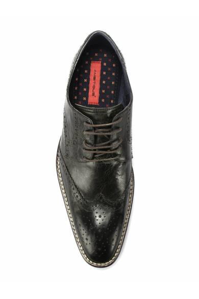 Ambitious valódi bőr elegáns férfi félcipő, fekete, DOM1376