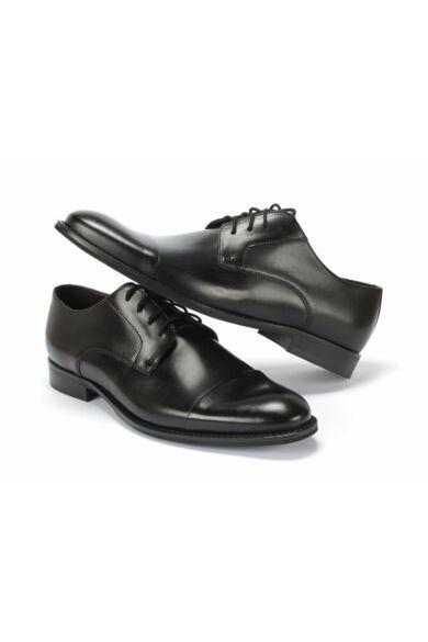 DOMENO valódi bőr alkalmi férfi cipő, fekete, DOM1418