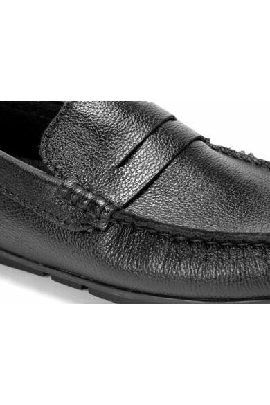 DOMENO valódi bőr elegáns férfi félcipő, fekete, DOM1472
