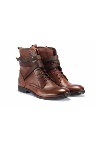 DOMENO valódi bőr elegáns magas szárú férfi cipő, barna, DOM148