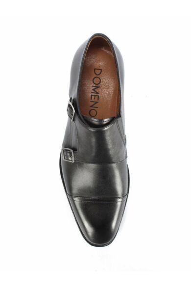 DOMENO valódi bőr alkalmi férfi cipő, fekete, DOM1497