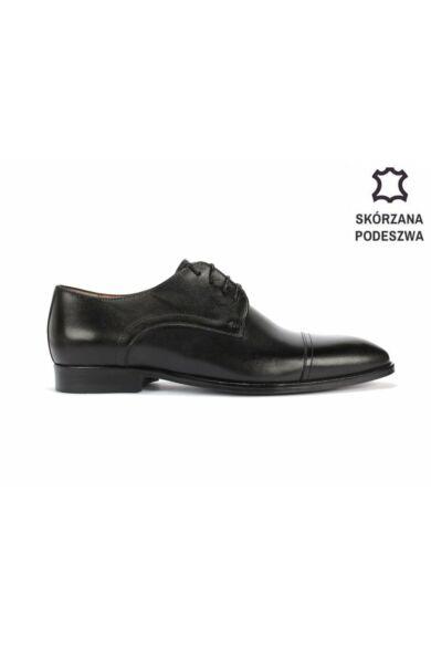 DOMENO valódi bőr alkalmi férfi cipő, fekete, DOM1499