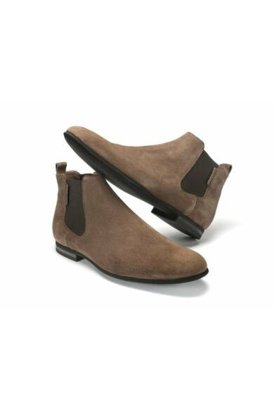 DOMENO velúr elegáns magas szárú férfi cipő, barna, DOM15