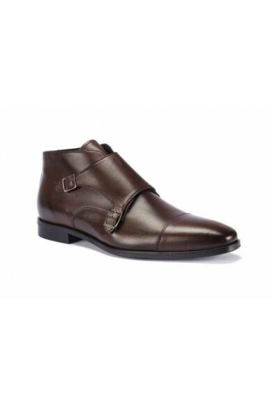 DOMENO valódi bőr elegáns magas szárú férfi cipő, barna, DOM168