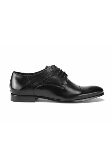 DOMENO valódi bőr alkalmi férfi cipő, fekete, DOM196